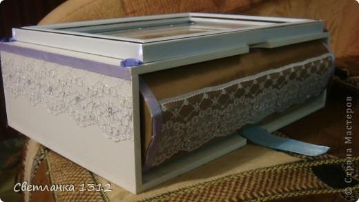 Сделала на свадьбу подруги фужеры, но решила ещё и шкатулку-коробку к ним оформить. фото 4
