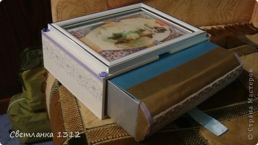 Сделала на свадьбу подруги фужеры, но решила ещё и шкатулку-коробку к ним оформить. фото 5