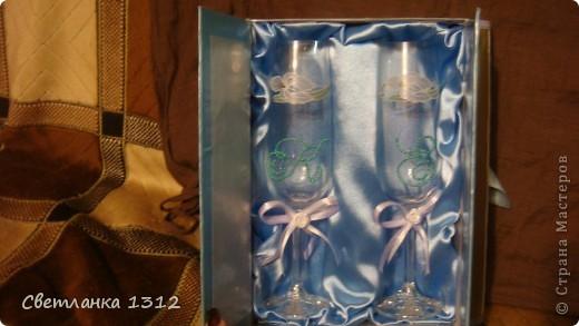 Сделала на свадьбу подруги фужеры, но решила ещё и шкатулку-коробку к ним оформить. фото 6