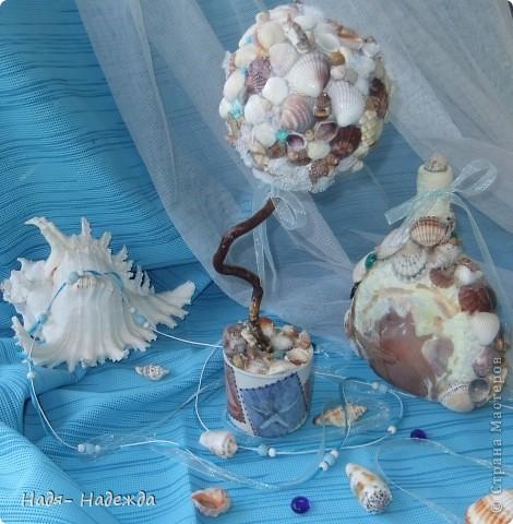 Всем доброго денька!!!Сотворила деревцо к бутылочке- морская парочка. фото 7