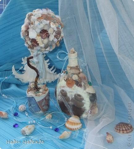 Всем доброго денька!!!Сотворила деревцо к бутылочке- морская парочка. фото 10