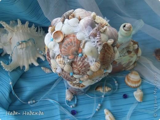 Всем доброго денька!!!Сотворила деревцо к бутылочке- морская парочка. фото 12