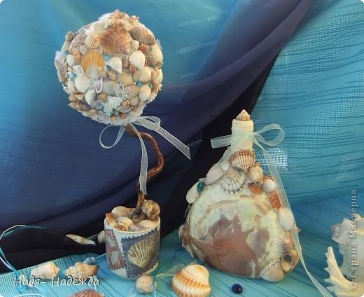 Всем доброго денька!!!Сотворила деревцо к бутылочке- морская парочка. фото 8