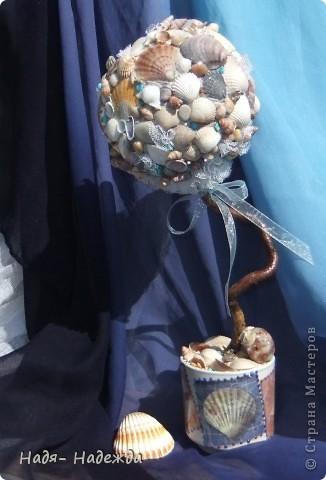 Всем доброго денька!!!Сотворила деревцо к бутылочке- морская парочка. фото 2