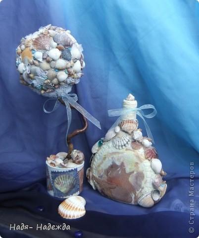 Всем доброго денька!!!Сотворила деревцо к бутылочке- морская парочка. фото 4