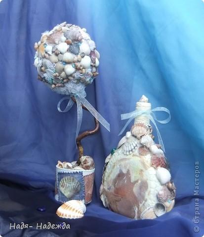 Всем доброго денька!!!Сотворила деревцо к бутылочке- морская парочка. фото 1