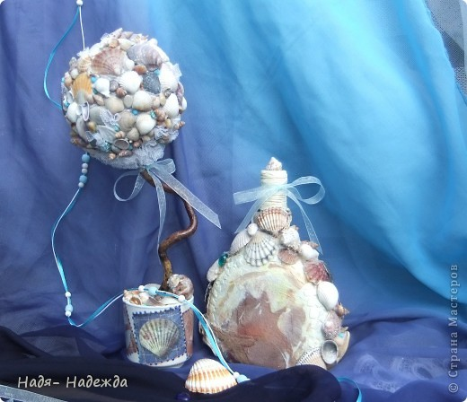 Всем доброго денька!!!Сотворила деревцо к бутылочке- морская парочка. фото 6