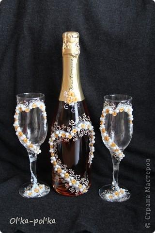 """Свадебные бокалы """"Золотые сердца"""" фото 1"""
