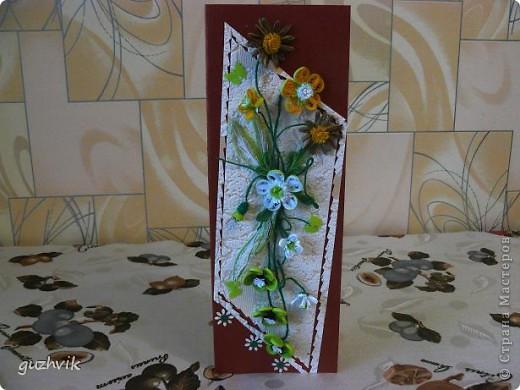 Добрый вечер Всем из Одессы!!! К Вам с порцией хорошего настроения. Это мои открыточки. Очень долго крутила цветочки, мостила их, думала сделать букет. Но увы!!! Не получился, но получились открыточки. Все цветочки на проволочках - посмотрите как интересно они смотрятся! фото 6
