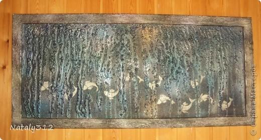 Основа - лист полистирола (утеплителя). Размеры панно 110 Х 60 Х 4 см. Использовалась шпатлевка, а не гипс. фото 5