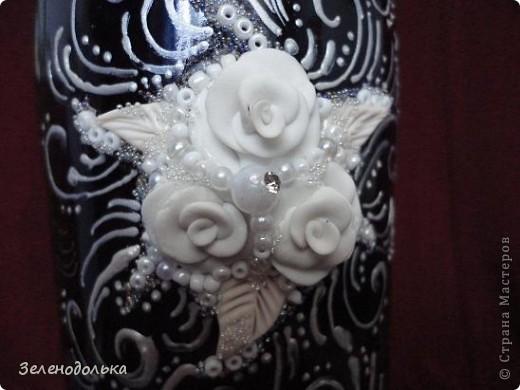 Вот такая бутылочка у меня получилась!!! А вдохновили меня работы Мастера Ольги Полянской!!! Захотелось и себе такую сделать - http://stranamasterov.ru/node/328957!!! фото 3