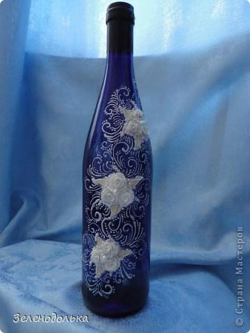 Вот такая бутылочка у меня получилась!!! А вдохновили меня работы Мастера Ольги Полянской!!! Захотелось и себе такую сделать - http://stranamasterov.ru/node/328957!!! фото 2