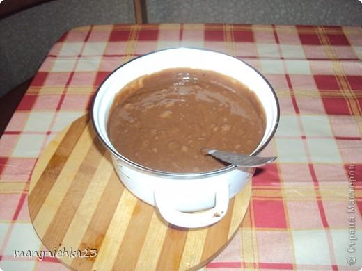 1 ст.сах.песка  1 ст.воды  2 ст.л.меда  1 ч.л.соды  0,5 ст.изюма  0.5 ч.л. разрыхлителя  2 ст.л. какао  0,5 ст. изюма   0,5 ст.измельченных орехов(я делала без)  0,5 ст. раст.масла  1,5-2 ст. муки  щепока корицы. фото 1