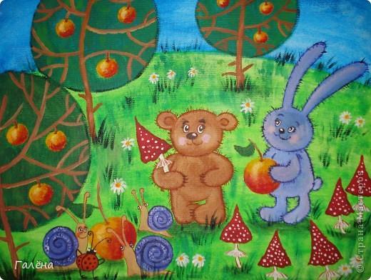 Эту веселую картинку рисовала на День Рождения племяшки.По мотивам иллюстраций Виктории Кирдий. Думаю,что кому-нибудь пригодятся мои этапы выполнения данной работы. фото 1