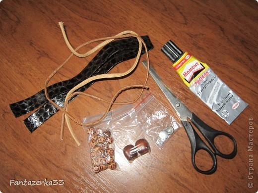 Браслет из кожанных шнурков фото 2
