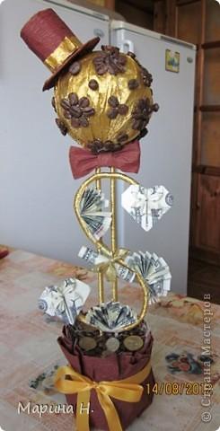 Здравствуйте! Вот ко дню рождения мужа сотворилось такое деревце. Вдохновила работа Еленче http://stranamasterov.ru/node/359059?c=favorite. Спасибо. Елена!!! У неё дерево -девочка, вот получился для дамы такой вот кавалер!!! фото 5