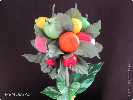 Дорогие друзья, рада приветствовать вас! Сегодня фруктовый топиарий. Сделала его в подарок маме на новоселье. Надеюсь, что он ей понравится и будет ярким акцентом на ее новой кухне.  фото 3