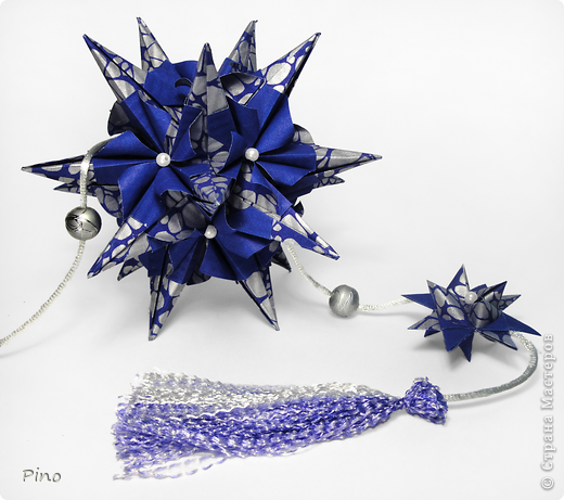 Кусудама Igel (curled variation), автор - Екатерина Лукашева схема - http://kusudama.me/#/Spikes/Igel_curled/igel3 На обвесе - Звезда Фрёбеля, МК - http://stranamasterov.ru/node/120913 фото 2