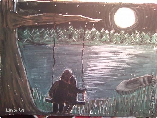 Здравствуйте мастерицы! С детства была тяга к рисованию, но, в основной, карандашом. Т.к. красками рисовать я не умею совершенно. Хочу показать вам свои каляки-маляки :) Первые рисунки давнишние, около 5 лет назад рисовала, хотя по сути, мало чего изменилось))) А вот и единственный рисунок красками. Хоть и совсем не профессионально, но сейчас висит над столом. Маме очень нравится и это главное :) фото 1