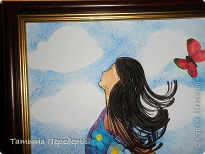 Здравствуйте, дорогие жители СМ! Так не хочется расставаться с летом, что я решила продолжить серию танцовщиц на красочной полянке (низ картины - декупаж) на фоне неба с нежными облаками (сделанного по МК Виты http://stranamasterov.ru/node/394356  ) фото 2