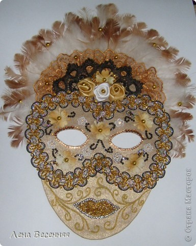 Здравствуйте, дорогие жители СМ!!! Подруга попросила меня сделать ей маску на стену к Дню рождения. Вот такая маска у меня получилась.  Конечно, объёмная маска была бы лучше, но я совершенно не дружу с папье-маше.  Хочется услышать ваше мнение о маске.  фото 8