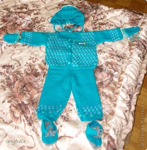 Мой первый вязаный костюм для будущего малыша. Родится он уже очень скоро, остался практически 1 месяц!!! фото 1