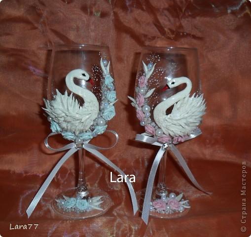 Ну вот очень мне хотелось сделать бокалы с лебедями.Насмотрелась на прекрасные работы мастериц этого сайта. Спасибо им большое за мастер классы. фото 5