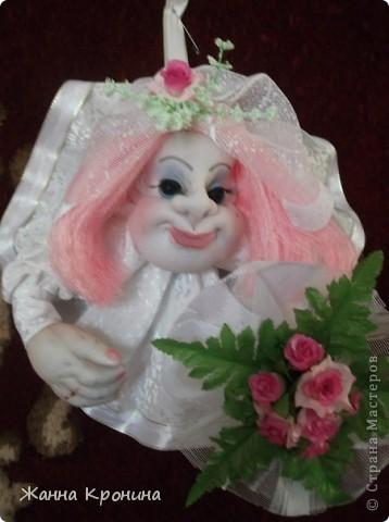 """Здравствуйте,дорогие мастерицы! Вот сделала по заказу жениха с невестой. Времени было """"в обрез""""- 1 день- поэтому сделала """"Попиков"""" Немного размытая фотка получилась- но ничего- ниже есть отдельные, там лучше видно........... фото 2"""