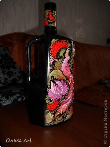 Хочу представить Вам мою бутылочку ,которую я расписала  петриковской росписью. Расписывала маслеными красками. фото 2
