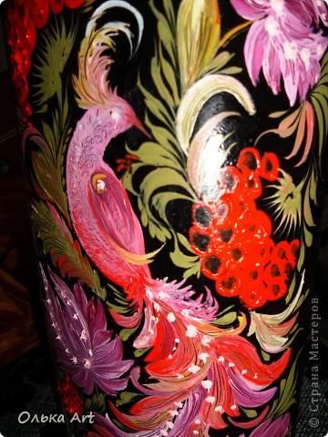 Хочу представить Вам мою бутылочку ,которую я расписала  петриковской росписью. Расписывала маслеными красками. фото 6