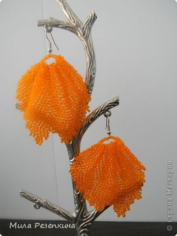 Решила показать вам мои серьги, которые я сделала за это лето)  Бабочки, если честно, удивилась, что они получились ровные несмотря на китайский бисер)) фото 3