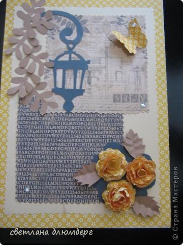 Здравствуйте дорогие Мастерица. Сегодня у меня открыточка в желто-коричневом тоне. МК розочек http://astoriaflowers.blogspot.de/2012/01/blog-post_7452.html#more.
