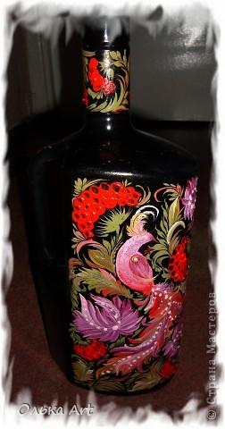 Хочу представить Вам мою бутылочку ,которую я расписала  петриковской росписью. Расписывала маслеными красками. фото 1