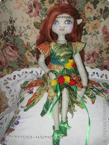 Доброго дня всем посетителям СМ! Представляю вам мою новую куклу - эльфиечку. Рост у девушки - 35 см. Сшита из тонированного льна, Набивка - холоффайбер. фото 2