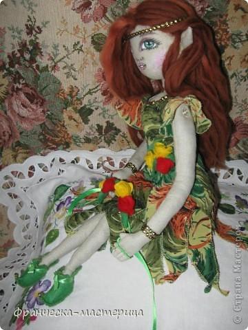 Доброго дня всем посетителям СМ! Представляю вам мою новую куклу - эльфиечку. Рост у девушки - 35 см. Сшита из тонированного льна, Набивка - холоффайбер. фото 3