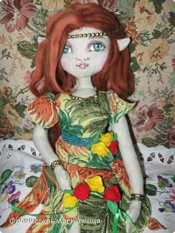 Доброго дня всем посетителям СМ! Представляю вам мою новую куклу - эльфиечку. Рост у девушки - 35 см. Сшита из тонированного льна, Набивка - холоффайбер. фото 1