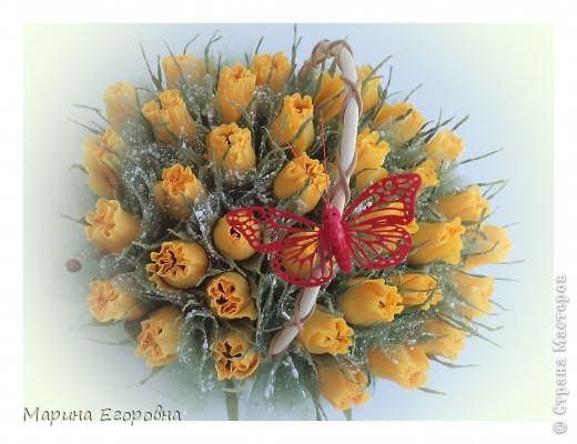 Букет из 35 желтых бутонов роз фото 2