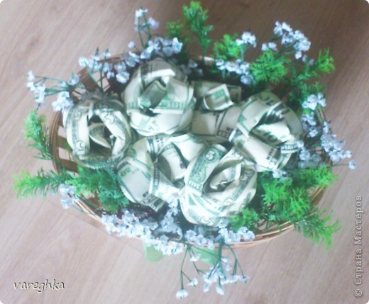 корзинка с розами из лент(душистая) фото 4
