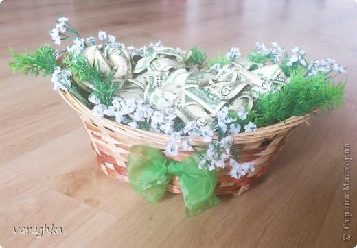 корзинка с розами из лент(душистая) фото 3