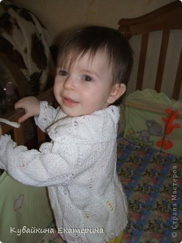 Мои работы по вязанию спицами, это только начальный этап, так что не судите строго))) Первая вязанная кофточка для моей дочурки Анны фото 1