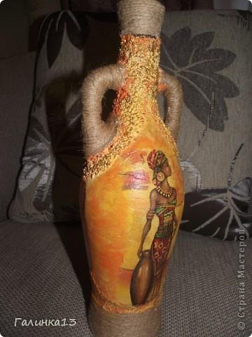Вот наваяла бутылочек под винный напиток и под масло. давно хотела сделать африканскую и с оливками. УРА! я их сделала! фото 2