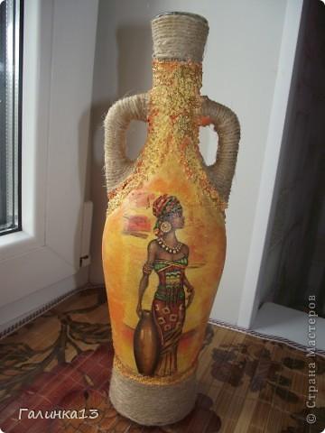 Вот наваяла бутылочек под винный напиток и под масло. давно хотела сделать африканскую и с оливками. УРА! я их сделала! фото 7