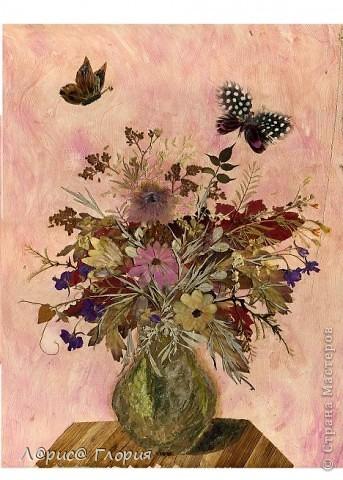 Картина с технике плоскостная флористика (японцы называют - ошибана, осибана). Все нарисовано цветами, листьями. Цвета природные без красок. Бабочки - перья птиц.  фото 1