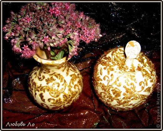 """Представляю вашему вниманию очередные мои работы. Это вазочка керамическая и деревянное яблоко. Оформлены в одном стиле. Назовем его """"Золотая парча"""". фото 1"""