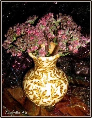 """Представляю вашему вниманию очередные мои работы. Это вазочка керамическая и деревянное яблоко. Оформлены в одном стиле. Назовем его """"Золотая парча"""". фото 3"""