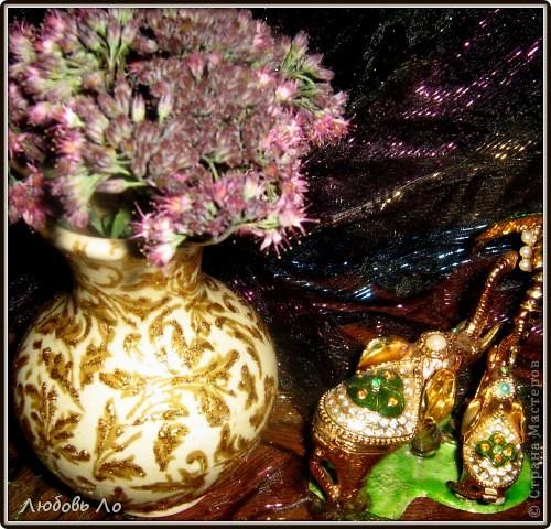 """Представляю вашему вниманию очередные мои работы. Это вазочка керамическая и деревянное яблоко. Оформлены в одном стиле. Назовем его """"Золотая парча"""". фото 4"""