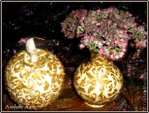 """Представляю вашему вниманию очередные мои работы. Это вазочка керамическая и деревянное яблоко. Оформлены в одном стиле. Назовем его """"Золотая парча"""". фото 2"""