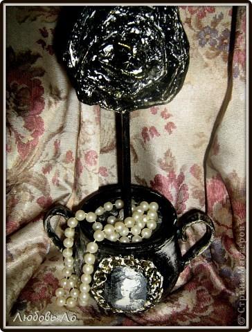 """Представляю вашему вниманию очередные мои работы. Это вазочка керамическая и деревянное яблоко. Оформлены в одном стиле. Назовем его """"Золотая парча"""". фото 6"""