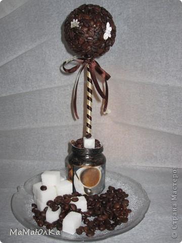 Рада приветствовать Вас! Сегодня кофейный  топиарий. Сделала на  день рождения свекрови. Она очень любит кофе!!!  Надеюсь, что оно будет бодрить по утрам и радовать по вечерам. фото 9