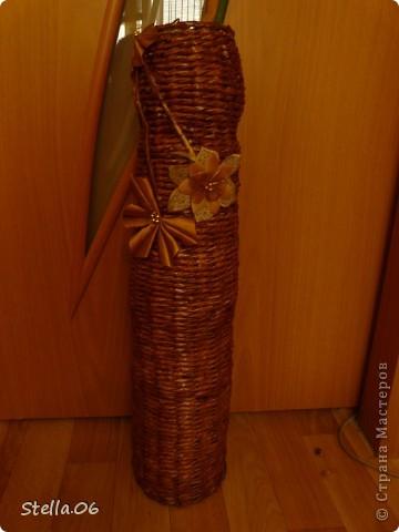 Выношу на ваш суд свою первую плетеную вазу.   Высота 57см.   фото 3